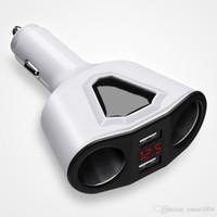 carregador do telefone do isqueiro do carro venda por atacado-3.1A Dual USB Carregador de Carro com 2 Soquetes de Isqueiro 120 W Suporte de Potência Display Volmeter Atual para Telefone Tablet GPS DVR
