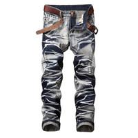 джинсы цветные мужские оптовых-Mens Colored Vintage Biker jeans for Men Slim Fit Plue size 40 42 Retro straight new brand uomo Denim pants Men's designer Jeans