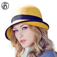 ingrosso cappello di feltro giallo-Cappello da donna fedora in feltro 100% lana australiana da donna fedora Floppy Cloche da donna con arricciatura invernale cappellino blu rosso giallo bowknot