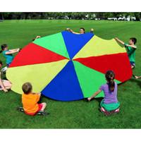 çocuklar oyuncaklar oynarlar toptan satış-Çocuklar Oyunu Oyna Paraşüt 2 m Gökkuşağı Şemsiye Eğlenceli Jump -Sack Ballute Açık Oyuncaklar Çocuklar için Doğum Günü Partisi Malzemeleri