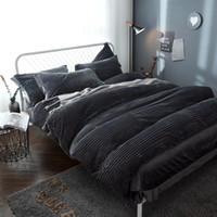 Wholesale Pure Linen Bedding - 2017 New Thick Crystal velvet pure color Bedding Sets gray Bed Linen Duvet Cover Bed Sheet Pillowcase winter warm Set
