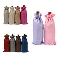 sacs cadeaux 15cm achat en gros de-Jute Burlap Couverture De Bouteille De Vin Champagne Rouge Vin De Cordon Sacs Couvre Emballage Cadeau pour Partie De Faveur De Mariage Poche Sacs 35 * 15cm BBA345 600