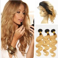 Wholesale ombre honey blonde bundles resale online - Honey Blonde Ombre Frontal With Bundles Peruvian Virgin Human Hair Wefts Bundles With Lace Frontals Black To Strawberry Blonde