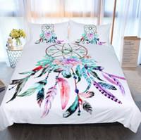 novos desenhos animados bonitos venda por atacado-New Dream Catcher Conjunto de Cama Queen Size Penas Capa de Edredão Branco Bed Set Bonito Roupas de Cama 3 pcs
