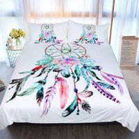 hermosa cama queen al por mayor-Nuevo juego de cama Dream Catcher Juego de cama tamaño Queen Feathers Funda nórdica Juego de cama blanca Ropa de cama hermosa 3pcs