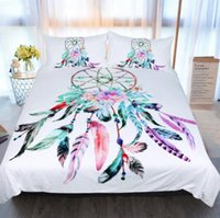 beyaz tüy rüyası yakalayıcı toptan satış-Yeni Dream Catcher Yatak Seti Kraliçe Tüyler Nevresim Beyaz Yatak Seti Güzel Yatak Örtüsü 3 adet