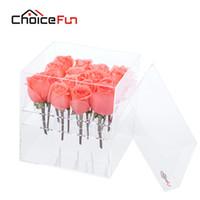 caixas transparentes venda por atacado-ESCOLHA DIVERSÃO Global Hot Sale Clear Acrílico Rose Caixa de Presente Artesanal 16 Buracos Display Acrílico Flor Caixa