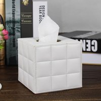 Wholesale roll tissue dispenser - wooden struction leather white square roll tissue box napkin toilet paper canister holder dispenser PZJH001