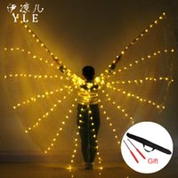 танец живота оптовых-Belly Dance LED Isis Wings Colorful Popular Stage Performance Props Belly Dancing Wings Props With Stick Dancing Accessory