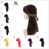 79b29f9c271 Wholesale bikers skull cap online - New Luxury Men s Velvet Durags Bandana  Turban Hat Wigs