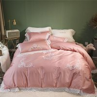 ingrosso set di copripiumino ricamati in pizzo-Lenzuola 100% cotone 4 pezzi copripiumino ricamato principessa rosa per bambine federa con copriletto in pizzo bianco set 60s satinato
