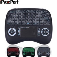 Wholesale raspberry box - 2017 New iPazzPort French Germany Wireless 3 color Backlight Mini Keyboard Mouse for Android TV Box Raspberry Pi 3 smart TV