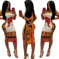 ingrosso abbigliamento tradizionale delle donne-Nuovo arrivo African Dashiki Dress For Women Traditional Clothing Sexy Printing Poliestere Africa Abbigliamento Abbigliamento donna