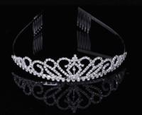ingrosso bambini di tiara-Bambini Ragazze Crystal Crown Diademi Hairband Clear Rhinestone Crown Fascia Wedding Crystal Crown Hair Bands per le donne Spose