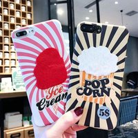 Wholesale Ice Cream Case For Iphone - Fashionable new cute cartoon plush ice cream popcorn phone case for iphone X 7 7plus 8 8plus hard back cover for iphone 6 6S 6plus