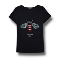 Wholesale women s rhinestone t shirts - High quality Brand Women Rhinestone T shirt Bee blingbling crystal Women Top Tees plus size short sleeve Tops for Summer