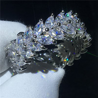 Wholesale clear stone rings for sale - Group buy Fashion Flower ring A Clear Cz Stone White Gold Filled Engagement wedding band ring for women Bridal Finger Jewelry