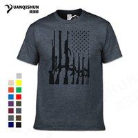 sıcak baskı makinesi toptan satış-En Kaliteli Erkek Amerikan Bayrağı Makineli Tüfek Baskılı T Shirt 2018 Yaz Sıcak Marka Rahat ABD Bayrağı Tişört Ateşli Silahlar Tees Tops