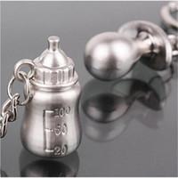 брелки для ключей оптовых-20Pairs Baby's Bottle And Nipple Keychain Wedding Favors And Gifts Baby Shower Souvenirs Wedding Decoration Supplies