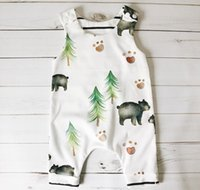 Wholesale jumpsuits for infants - 2017 Baby Bear And Tree Jumpsuit Boys Newborn Romper Infant Pattern Onesies Bodysuit Summer Clothes For 70-100cm