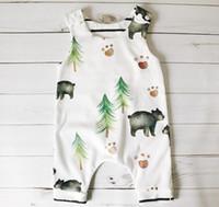 Wholesale Infant Onesies Wholesale - 2017 Baby Bear And Tree Jumpsuit Boys Newborn Romper Infant Pattern Onesies Bodysuit Summer Clothes For 70-100cm