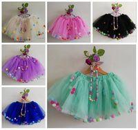 Wholesale tutu party supplies - 2018 girl tulle skirts fluffy baby tutu skirt rainbow pom poms pettiskirt necklace bracelet ballet tutus for girls birthday party supplies