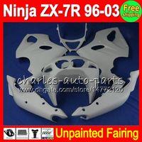 комплект zx7r оптовых-8gifts неокрашенный полный обтекатель комплект для Kawasaki NINJA ZX-7R 96-03 ZX7R ZX 7R 7 R 96 97 98 99 00 01 02 03 1996-2003 обтекатели кузова обвес