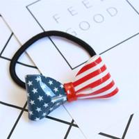 Wholesale american stick flags - Fashion American Print Headwear Barrettes Womens Girls American Flag pattern Ears Elastic Hairband Headband