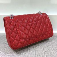 Wholesale Hw Fashion - Top quality brand design Large Double Flap Bag Genuine Patent Leather Quilted chain Bag Black HW Lambskin Women Shoulder Messenger Bag