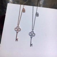 навсегда любовь бриллиантов оптовых-Ключи и замок кулон для S925 стерлингового серебра ожерелье женщины роскошь навсегда любовь цепи модный бренд свадьба алмаз полые ожерелье