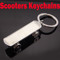Wholesale metal scooters - Newest 3D Three-dimensional Scooters Keychains Car Metal Key Rings Skateboard Sport Key Holder Wholesale Support FBA Drop Shipping G658Q