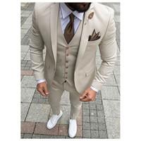 güvey smokinleri toptan satış-Moda Damat Smokin Groomsmen Bej Vent İnce Takım Elbise Fit En İyi Erkek Takım Elbise Düğün / Erkek Takımları Damat (Ceket + Pantolon + Yelek + Kravat) NO: 38