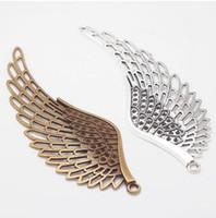 ingrosso collana di bronzo angelo delle ali-lega 10pcs Ali d-angelo antico di fascini fascini bronzo ciondolo in argento per monili la collana che fa scoperte 110x40mm