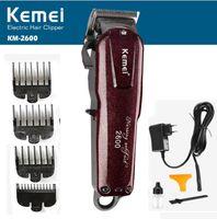 afeitadora al por mayor-Kemei hombres recortador de pelo profesional Clipper cortador de peluquería máquina de afeitar cortador cortador de pelo corte afeitadora UE de carga de doble propósito KM-2600