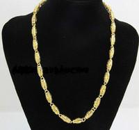 279c845cbe2d La mejor compra fina joyería de oro amarillo envío libre para hombre 24k  amarillo sólido GF collar de cadena ancho 7 mm longitud 50 cm peso 36.5 g  2152