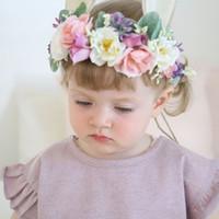 süße baby mädchen requisiten großhandel-Baby künstliche Blumen Stirnbänder Mädchen Hasenohren Haarbänder Cute Bunny Crown Kinder Haarschmuck Foto Prop Partei Hairband C4368