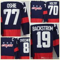 nhl trikots versand großhandel-NHL-Jersey-WC 70 der Männer 201 Holtby 77 Oshie 8 Alex Ovechkin 19 Backstrom-Blau Premier Hockey Jerseys-Qualität Freies Verschiffen Großverkauf