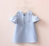 Wholesale European Fashion Design Dresses - Fashion new design Baby Girls princess Dress kids girl princess dress summer striped short sleeve mini dress