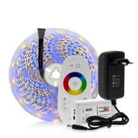dc güç adaptörü 12v 3a toptan satış-5050 LED Şerit RGB / RGBW / RGBWW 5 M 300 LEDs Neon Bant Işık + 2.4G Uzaktan Kumanda + DC 12 V 3A Güç Adaptörü