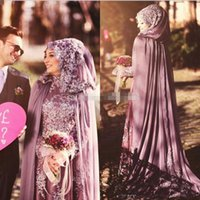 Wholesale Chiffon Neck Scarves - Lavender Chiffon Lace Applique Dubai Arabic Formal Evening Gowns 2018 Newest High Neck Long Sleeves Prom Dress With Scarf Cloak