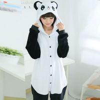 Wholesale Panda Pajama Set - Adult Unisex Pajamas Adult Panda Full Sleeve Hooded Polyester Pajama Sets Pijamas Couples Pajamas