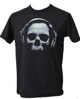 наушники с черепами оптовых-Мужская черная футболка череп с наушниками DJ музыка гот рейв танец S-5XL Ман уникальный хлопок с короткими рукавами O-образным вырезом футболки