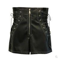 breite bein-shorts plus größe großhandel-Neue Design Mode Frauen hohe Taille Seite Schnürung Verband Reißverschluss Patchwork PU Leder breite Bein Shorts plus Größe SML