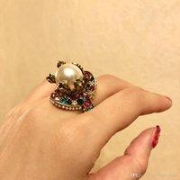 ingrosso ottone natale-2018 Vintage anello di lusso in ottone con perla colorata natura decorare e timbro logo charm anello gioielli giorno di Natale ringraziamento valenti