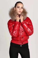 ingrosso marche di parka delle donne-M Moda donna di marca Il piumino lucido Inverno Donna Abito Cappotto in vera pelliccia di procione Cappotto staccabile Cappuccio Parka celebrità