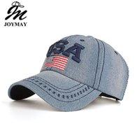 eua bandeira americana jeans venda por atacado-Jeans Bonés de Beisebol Para Homens Cowboy Algodão EUA Bandeira Americana Boné de Beisebol Nova Venda Quente Chapéu de Sol Casquette chapéus Ao Ar Livre Frete Grátis