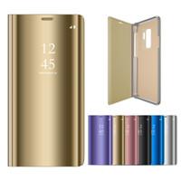 зеркальные стойки оптовых-Для Samsung Galaxy S10 S10E S9 S9 + S8 S8 + Plus S7 S6 Edge Note8 9 Умный Зеркало Флип Чехол Стенд Покрытие Крышка