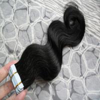 tramas de cabelo venda por atacado-Extensões de cabelo Fita adesiva Onda Do Corpo Do Cabelo Brasileiro Virgem Ondas Do Corpo adesivo 100G 40 pcs Aplicar extensões de fita adesiva do cabelo