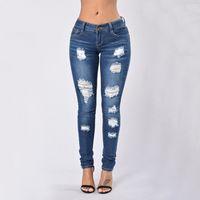 jeans de color invierno al por mayor-Hot 2017 nueva moda señoras pantalones de mezclilla estiramiento para mujer rasgada flaco de cintura alta Jeans Denim Jeans para mujer