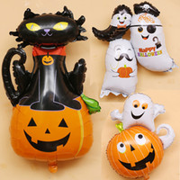 Wholesale pumpkin toys supplies - Halloween Pumpkin Ghost Balloons Halloween Decorations Spider Foil Balloons Inflatable Toys Bat Globos Halloween Party Supplies LE75